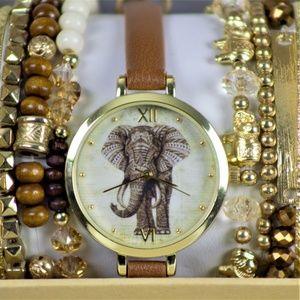 Francesca's Boho Elephant Watch Box Set